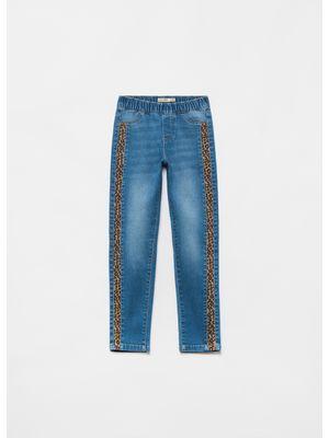 Pantaloni denim cu insertie animal print