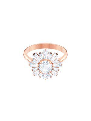 Inel Sunshine Medium, alb, placat cu aur roz